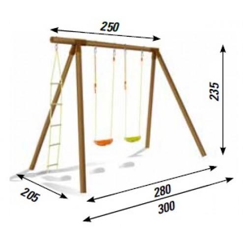 Altalena in legno fiordaliso 2 posti con scala in corda for Altalena legno usata